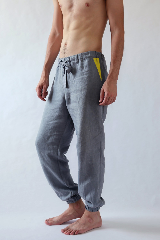 Natural Mens Linen Pants Black Ficus Linen Clothing