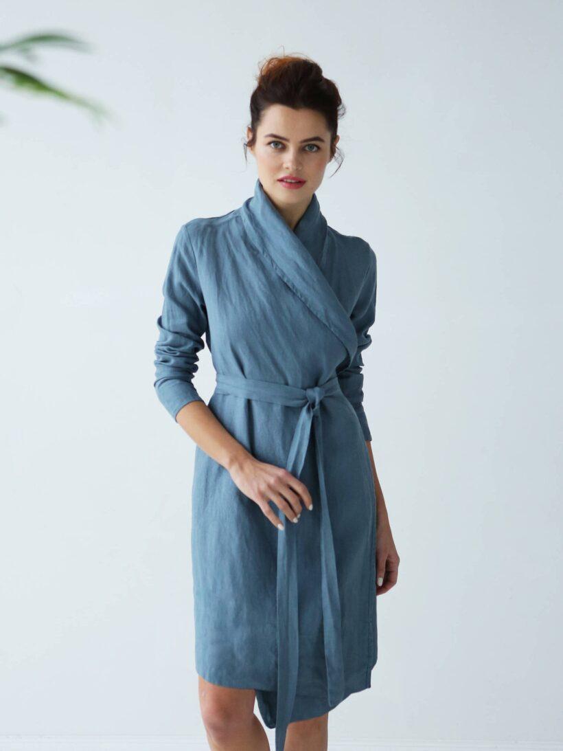 Women S Linen Bathrobe Black Ficus Linen Clothing