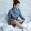 women's linen bathrobe, blue-grey bathrobe