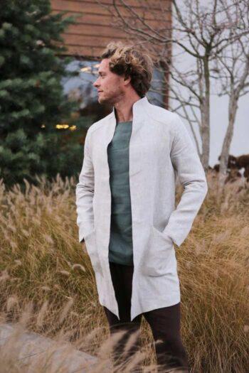 linen trench, men's cardigan, men's linen coat