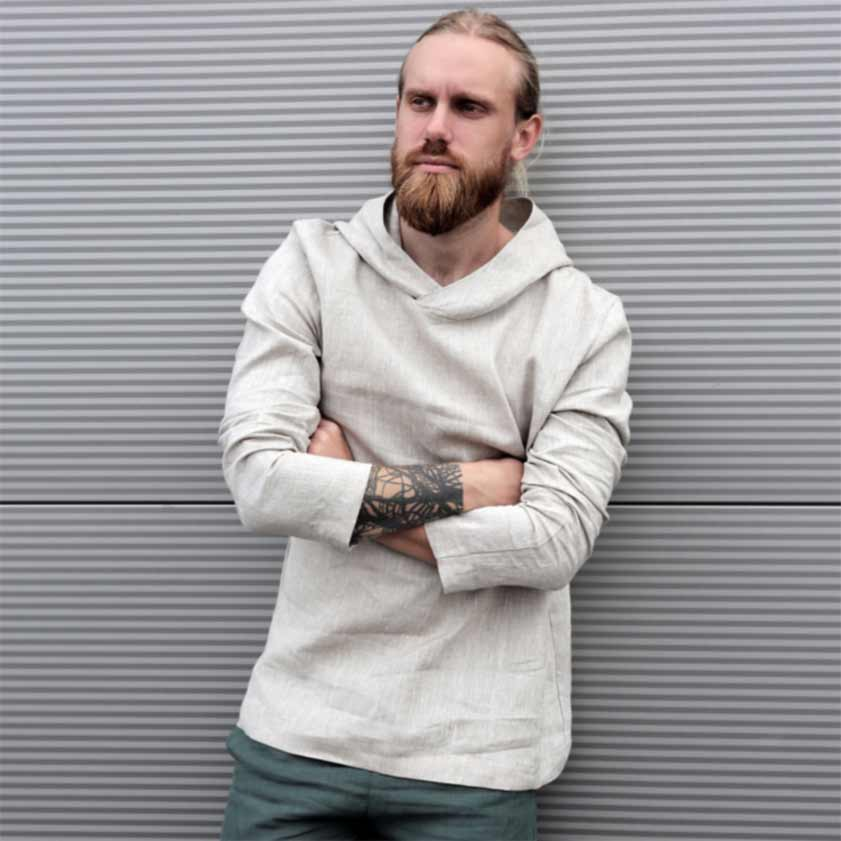 men's linen hoodie