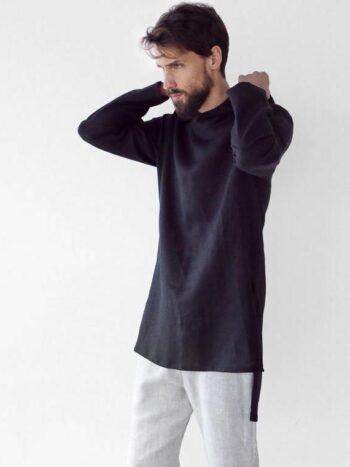 long linen hoodie