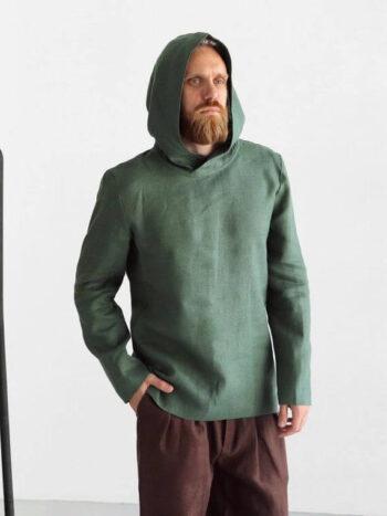 Mens linen hoodie