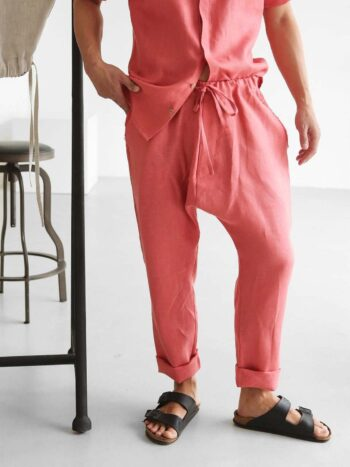 peach linen pants