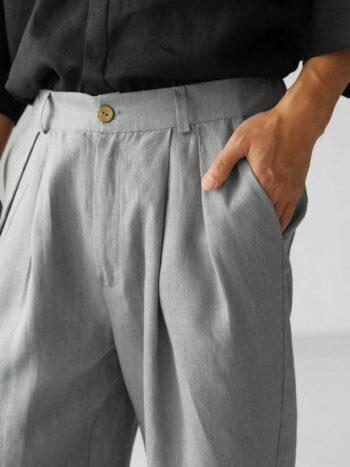 light grey linen pants