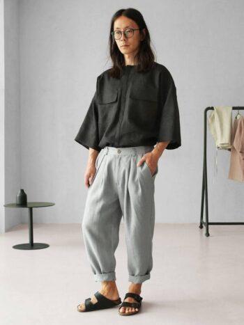 light-grey linen pants