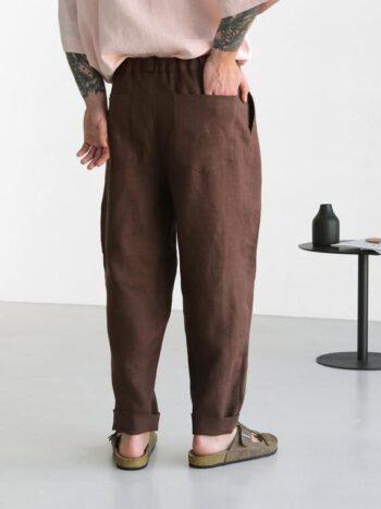 brown pleats pants