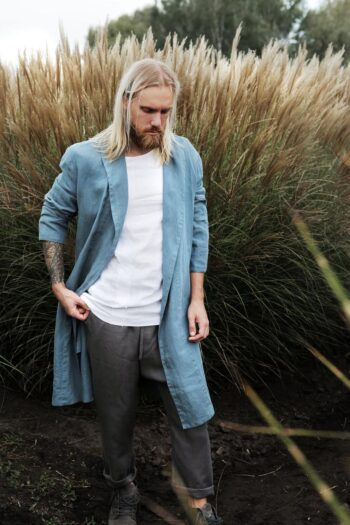 bathrobe, men's linen bathrobe, men's homewear, men's fashion