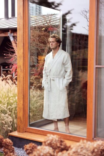 linen bathrobe, men's linen robe. men's fashion