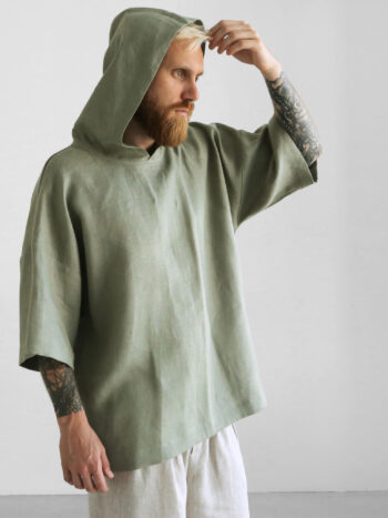 olive hooded t-shirt