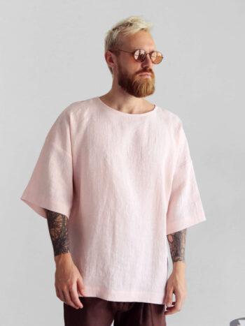 cream oversized linen t-shirt