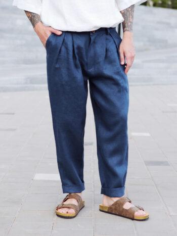 dark blue linen pants