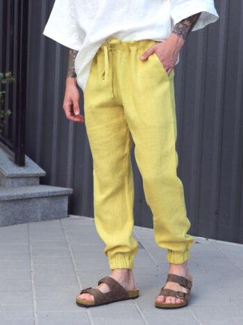 yellow linen pants